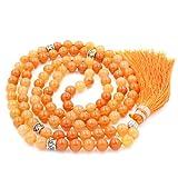 Mala Beads Necklace, Gemstone Mala Bracelet, Buddhist Prayer Beads Necklace, Tassel Necklace, Knotted