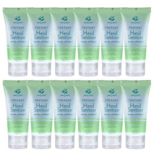Mellow 12 Pack 75% Alcohol Hand Sanitiser Gel with Aloe and Vitamin E Moisturiser Sanitizer, Pocket Size 59ml