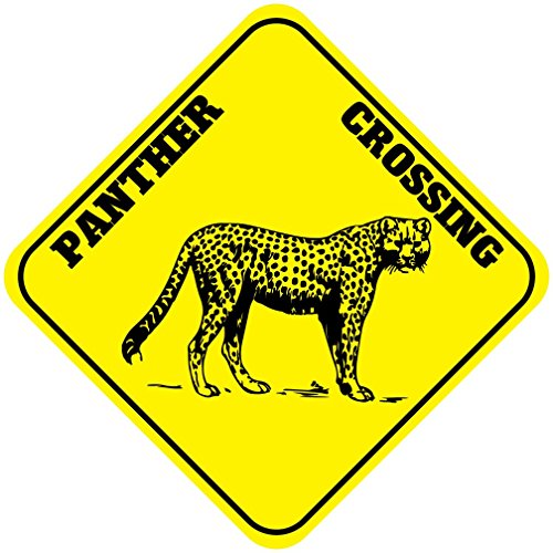 Panther Crossing Funny Metal Aluminum Novelty Sign (Panther Crossing)