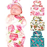Newborn Baby Swaddle Blanket and Headband Value Set of 3,Receiving Blankets