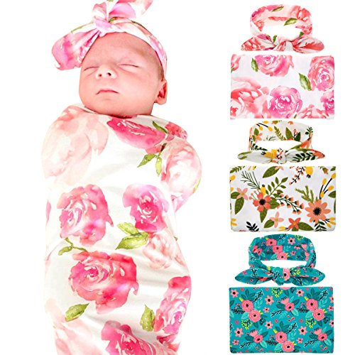 a43129659a6 Newborn Baby Swaddle Blanket and Headband Value Set of 3
