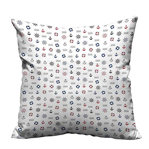 d Pillowcase Marine Elements Featured Lifebuoy Anchor Compass Sea Waves Kids Nursery Theme Blue Red Perfect for Travel(Double-Sided Printing) 35x35 inch ()