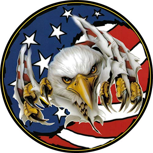 - TIRE COVER CENTRAL Eagle Ripping Thru US American Flag Spare Tire Cover 205/75R14 fits Camper, Jeep, RV, Scamp, Trailer(Drop Down Size menu