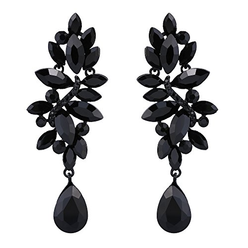 Ring One Marquise Love (BriLove Women's Wedding Bridal Crystal Marquise Cluster Teardrop Chandelier Dangle Earrings Black-Tone)