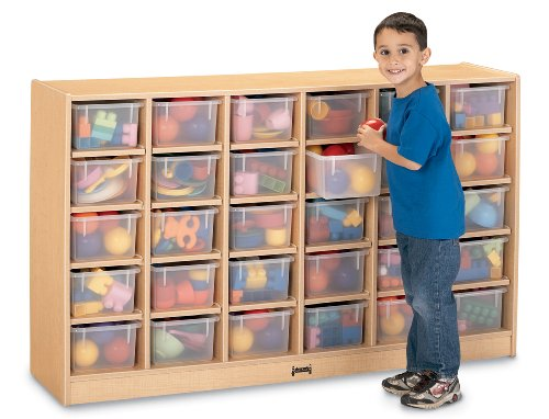 30 Tray Mobile Cubbie With Clear Trays - School & Play -