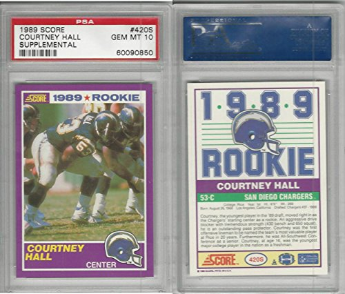 1989 Supplement - 1989 Score Supplement Football, 420S Courtney Hall RC, Chargers, PSA 10 Gem
