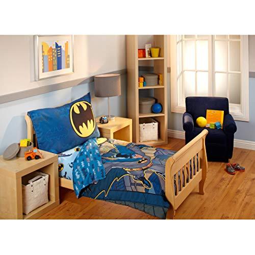 TN 3 Piece Blue Grey Boys Batman Toddler Bedding, Gray Yellow Superhero Toddler Quilt Set Dark Knight Bat-Man Toddler Set Hero Yellow Black Multi Colored Classic Look from Comic Vibrant, Polyester (Bedding Toddler Classic)
