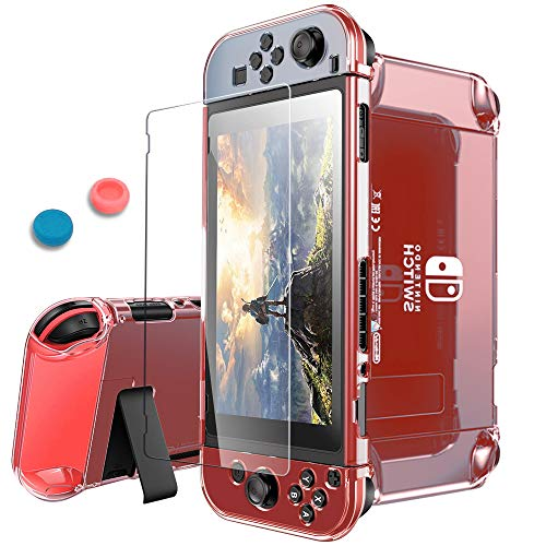 (Pakesi for Nintendo Switch Case, Compatible with Nintendo Switch Cover Case and Tempered Glass Screen Protector (360 Degree Full Enclosure Protection)-Red)