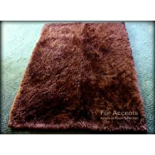 Fur Accents Sheepkin Accent Rug Collection / Dark Brown Faux Fur / Rectangle / Carpet Runner / 2'x3'