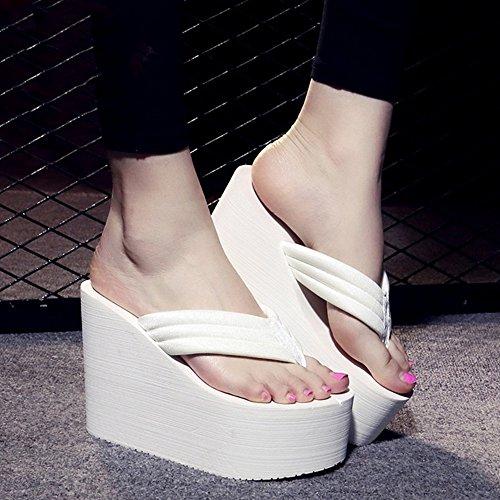 FEI Mädchen Sandalen 12cm Hochhackige Pantoffeln High Heels Weibliche Sommertuch Sandalen Seide Mode Hausschuhe Student Strand Schuhe Rutschfest ( Farbe : Schwarz , größe : 38 ) Weiß