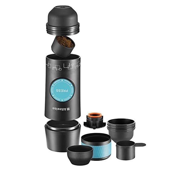 Alfa wise Cafetera Portátil Recargable, Mini Máquina Elétrica de Café, Minicafetera, Máquina de Espresso Manual Portátil, Color Negro: Amazon.es: Hogar