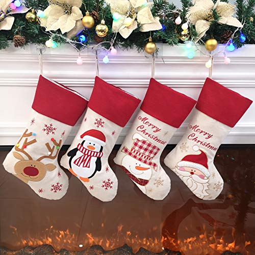 Large Christmas Stocking (Bstaofy Traditional Christmas Stockings Set of 4 Santa Reindeer Snowman Penguin with 3D Tech,)