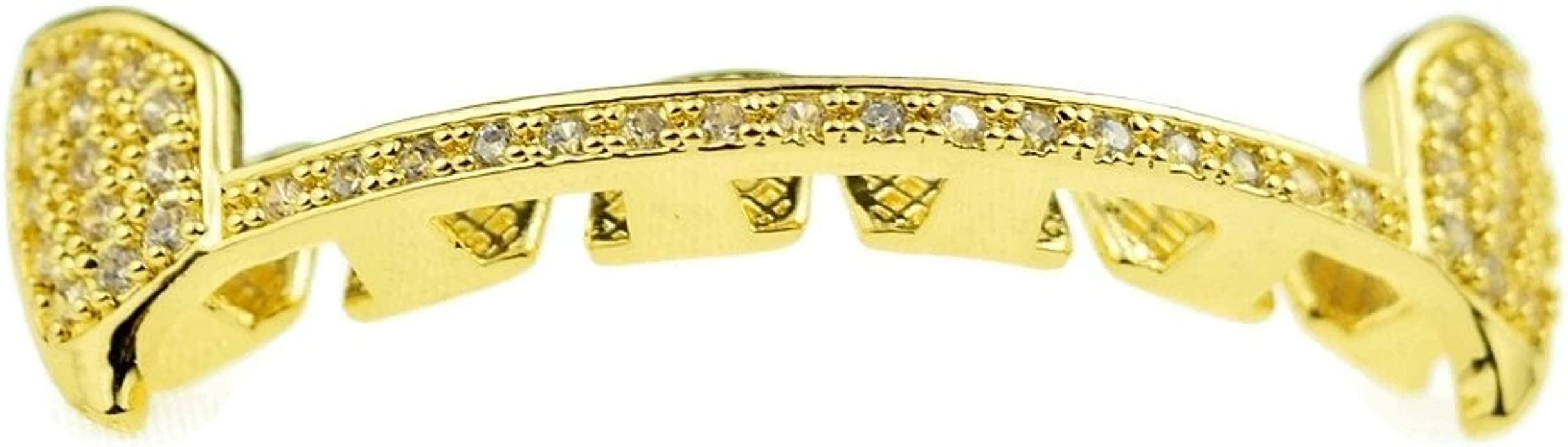 Details about  /Italy 14k White Gold filled Rappers Seethrough fang grillz 6 teeth Slug teeth