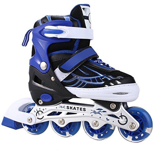 Dongchuan Breathable Mesh Inline Skates Eight Illumination Wheels Aluminum Frame Adjustable Roller Skates For (Aluminum In Line Skates)