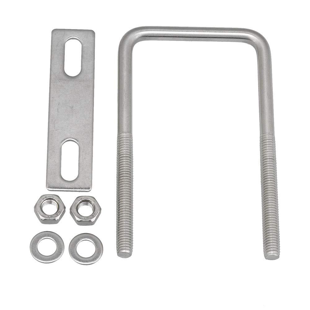 CNBTR M8 304 Stainless Steel Square U-Bolt Axle Plate U Bolt Kit 45x120mm W x H