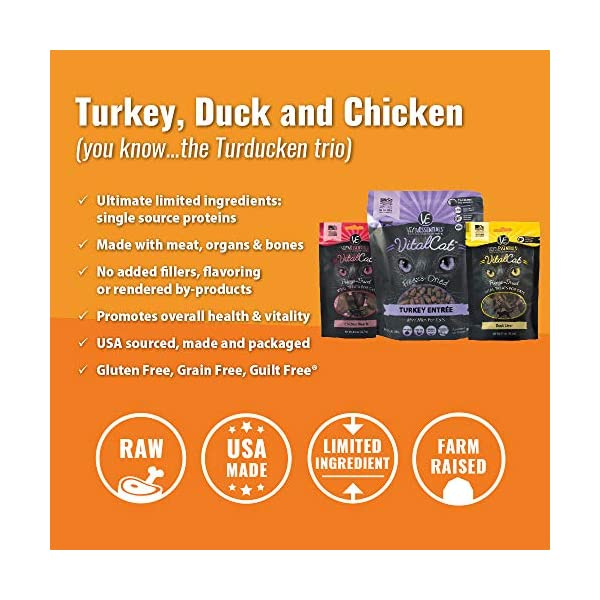 Vital Cat Freeze-Dried Grain Free Turducken 3 Pack: Turkey Entrée (12 oz.), Duck Liver Treats (.9 oz) , and Chicken Hearts Treats (.8 oz) 4