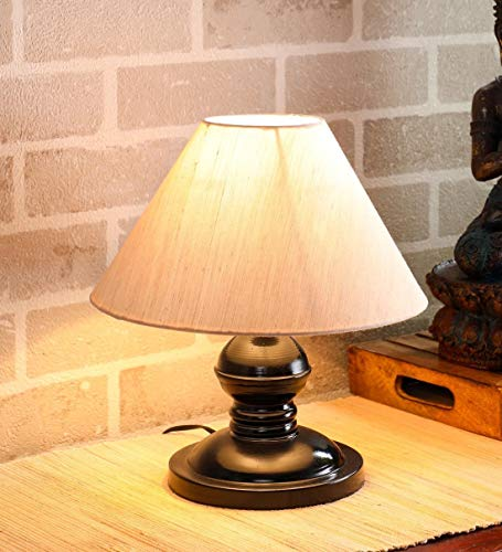 VRCT Khadi Shade and Beautiful Table Lamp for Bedroom and Drawing Room (Black,Pack of 1)