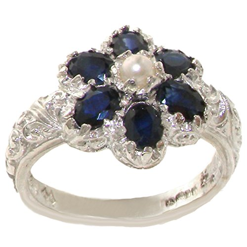 (925 Sterling Silver Cultured Pearl and Sapphire Womens Cluster Ring - Size 11)