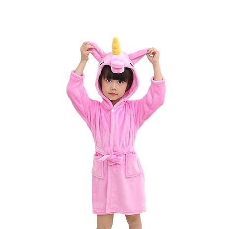 Emorias 1 Pcs Albornoz de Baño Suave Dibujos Animados Unicornio Espesar Bata de Dormir Niño Pijamas
