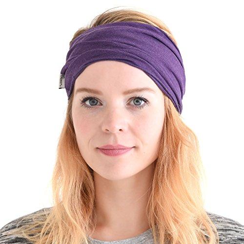 (CHARM mens Elastic Bandana Headband Japanese Long Hair Dreads Head wrap Mix Purple)