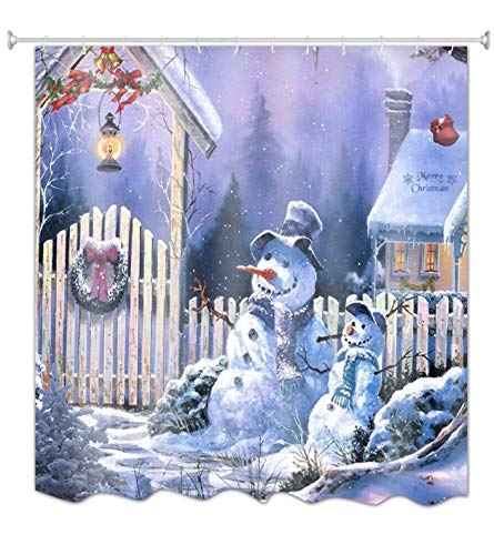 - A.Monamour Christmas Holiday Night Outdoor Parent Child Snowman Wooden House Roof Door Pine Wreath Oil Lamp Print Waterproof Fabric Polyester Shower Curtain for Bathroom 180x200 cm / 72