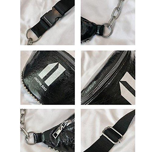 Casual Laque Impression Unique Épaule Femme FFLLAS Urbain Silver Poche Sauvage Poitrine Sac Solide Couleur Trend Fashion xnYCqa
