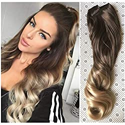 "25"" Inches Half Head One Piece Long Wavy Clip in Hair Extensions Ombre 2 Tones DL (25"" - Chocolate brown/sandy blonde)"