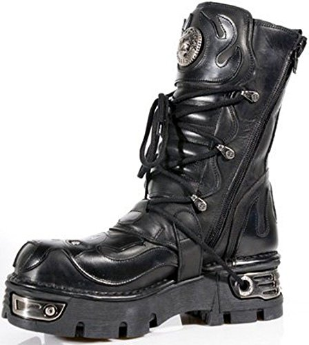 Pelle NEWROCK New Rock 107 - S3 Nero Skull Devil avvio del motociclista della roccia di Goth Boots
