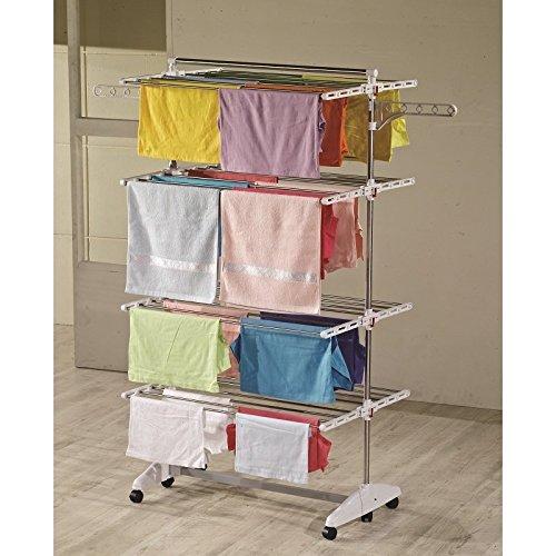 One Click Luxus Wäscheständer, Wäschetrockner, Turm, Standtrockner mit klappbaren Seitenflügel auf 4 - Ebene