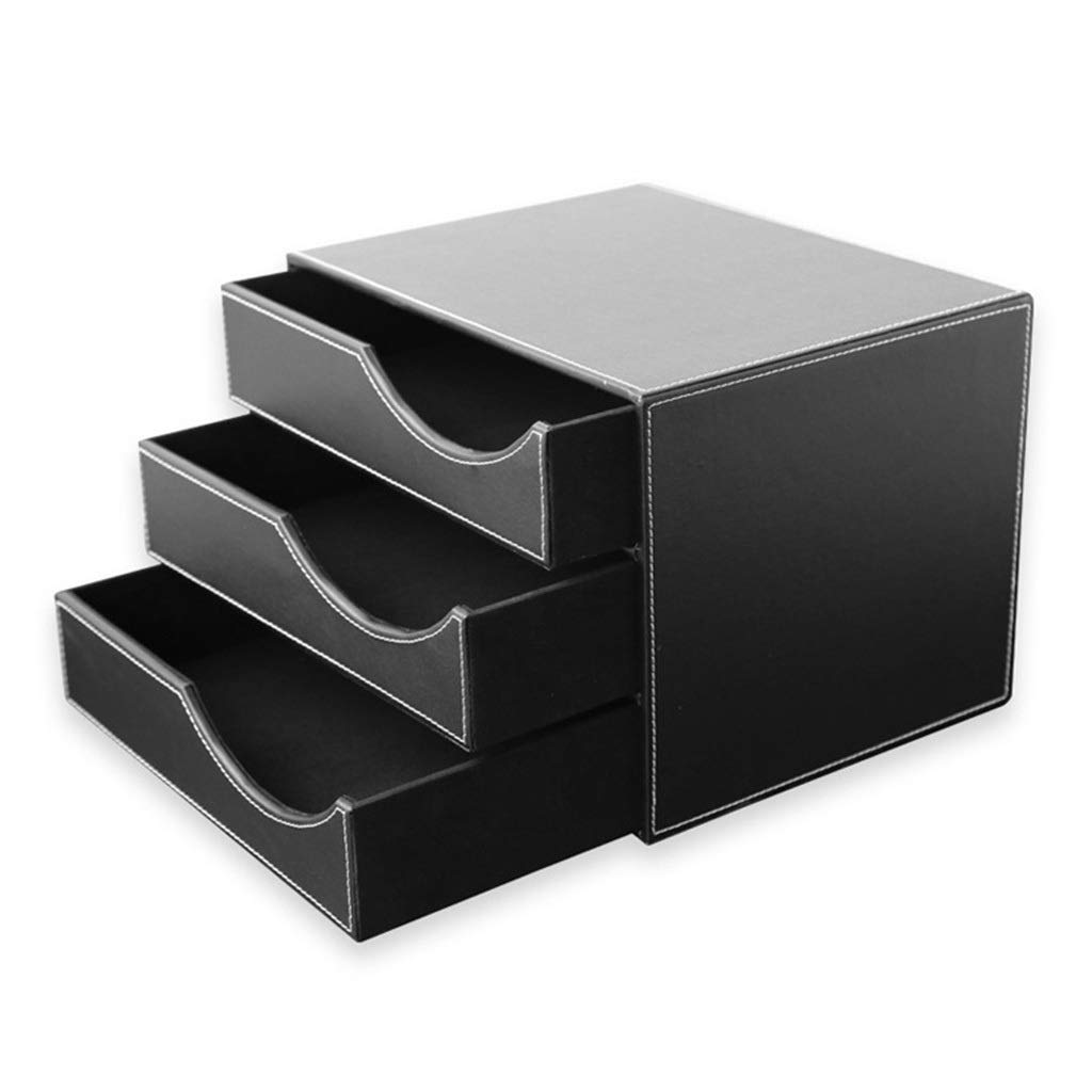 LBWT Desk File Cabinet - Creative Drawer Type Data Storage Box Leather Business Storage Products Office/Home/Bank/Mall (Color : Black) by LBWT