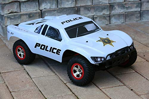 SummitLink Custom Body Police White Style Compatible for 1/10 Scale RC Car or Truck (Truck not Included) SS-POW-01