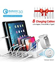 Soopii Quick Charge 3.0 60W/12A 6-Port USB Charging Station Organizer for Multiple Devices, 8 Short Charging Cables Included, I Watch Charger Holder,for Phones, Tablets, and Other Electronics,