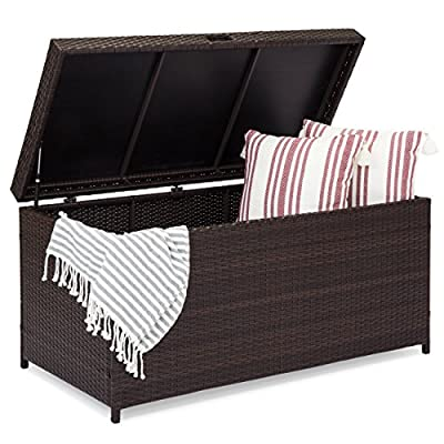 Best Choice Products Outdoor Wicker Patio Furniture Deck Storage Box Cushions, Pillows, Pool Accessories - Brown