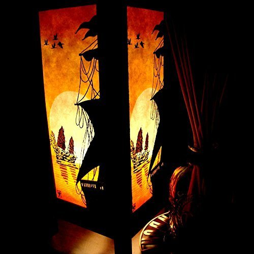 Pakdeevong shop ( Chinese Junk Orange Sun Sea Handmade Asian Oriental Wood Table Paper Gift Bedside Night Light Bulbs Bedroom Accessories Home Decor L…