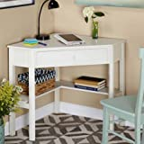 Sturdy Wooden Corner Writing Desk, Antique White