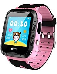 GPS Tracker Kids Smart Watch Anti-lost SOS Waterproof Outdoor Pink Watches With Flashlight