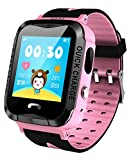 Kids GPS Tracker Smart Watch for Girls Pink Anti-Lost SOS Waterproof Outdoor Remote Wrist Watches with Flashlight