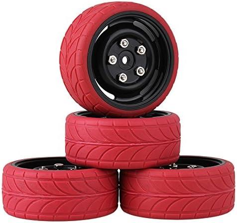 Mxfansブラックプラスチック4穴ホイールリム+赤矢印パターンラバータイヤfor RC 1: 10On Road Car
