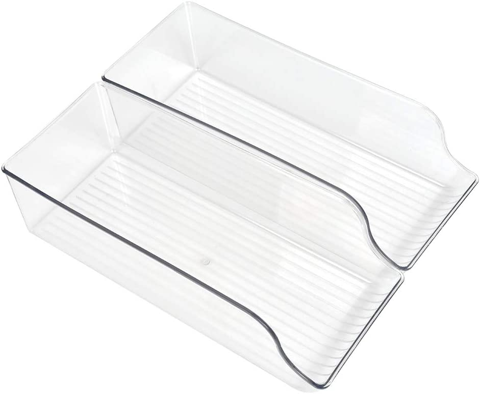 BUYGOO Set of 2 Soda Can Organizer for Refrigerator, Fridge Organizer Bins for Freezer, Kitchen, Pantry, Countertops, Cabinets, Clear Plastic Beverage & Canned Food Dispenser