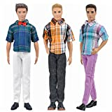 E-TING 3 Sets Casual Wear Plaid Shirt T-shirt Jeans Pants Trousers Doll Clothes For Barbie Fashionistas Ken Doll