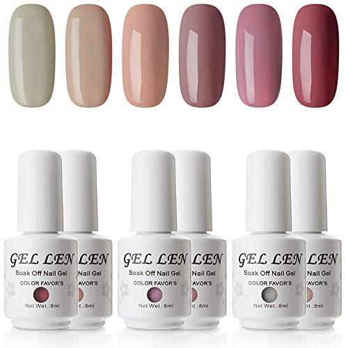 Gellen Gel Nail Polish Set - Popular Nudes Series 6 Colors UV LED Soak Off Nail Gel Manicure Kit (Opi Gel Nail Polish)