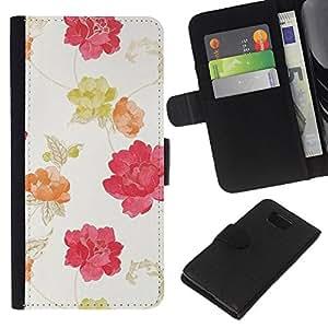 KLONGSHOP // Tirón de la caja Cartera de cuero con ranuras para tarjetas - Acuarela Beige Rosa Rojo Amarillo - Samsung ALPHA G850 //