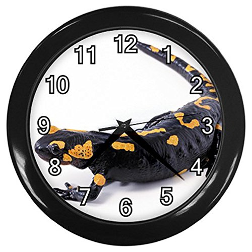 Salamander Black Frame Novelty Animal Wall Clock ()