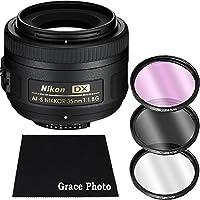 Nikon AF-S DX NIKKOR 35mm f/1.8G Lens Bundle for Nikon DSLR Cameras (White Box)