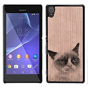 // MECELL CITY PRESENT // Cool Funda Cubierta Madera de cereza Duro PC Teléfono Estuche / Hard Case for Sony Xperia T3 /// Unhappy Sad Cat Pet Funny Animal ///