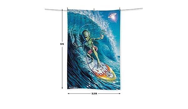 L&S PRINTS Alien Surfer - por David Penfound - Toalla - 5 FT X 3.3 ft (60 x 40 cm): Amazon.es: Hogar