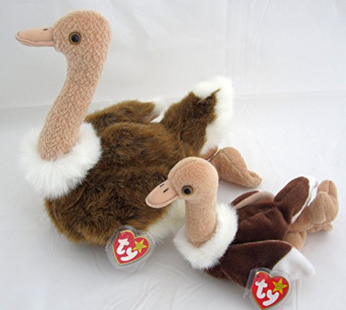(Ty Beanie Buddy & Baby Bird Set - Stretch the Ostrich)