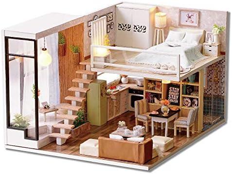 DIY ドールハウス 女性と女の子のためのDIYミニチュアルームセット、木工芸構築キット木製モデルの構築セットミニハウス工芸ベスト誕生日プレゼント (Color : Multi-colored, Size : 20.5x24.5x16cm)