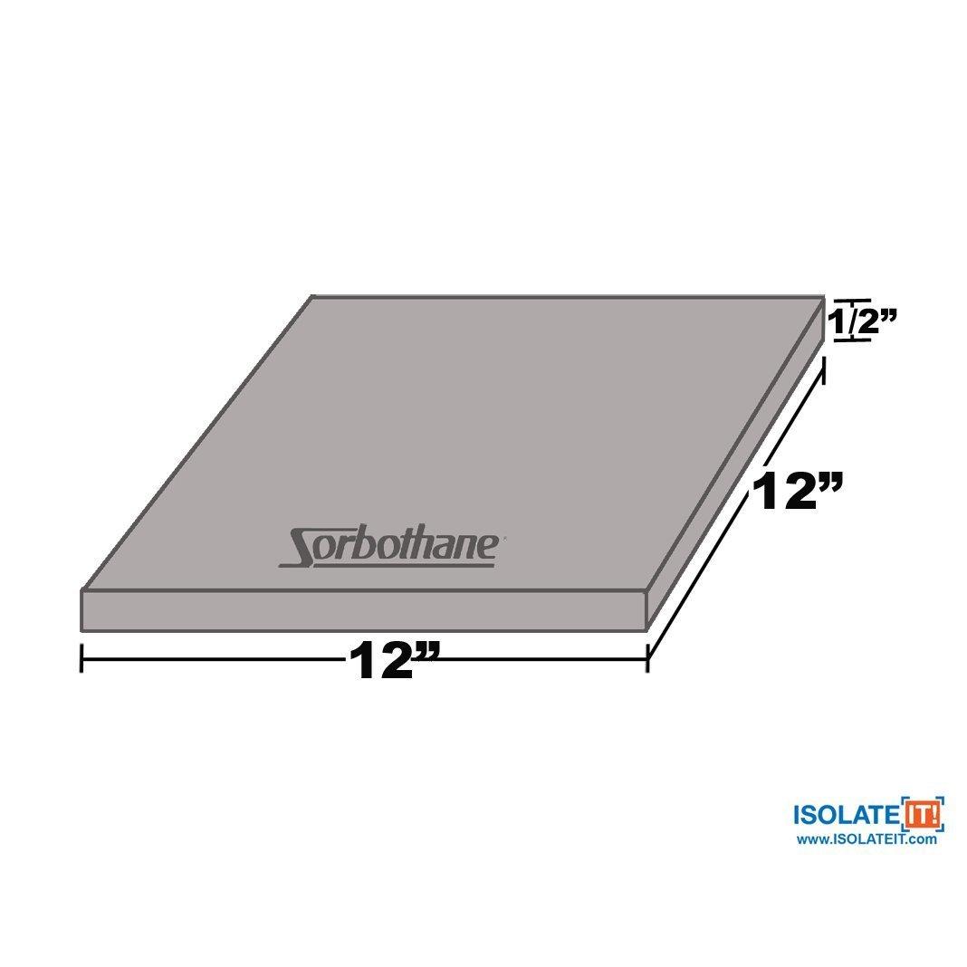 Sorbothane Vibration Damping Sheet Stock (70 Duro, 1/2 x 12 x 12in)