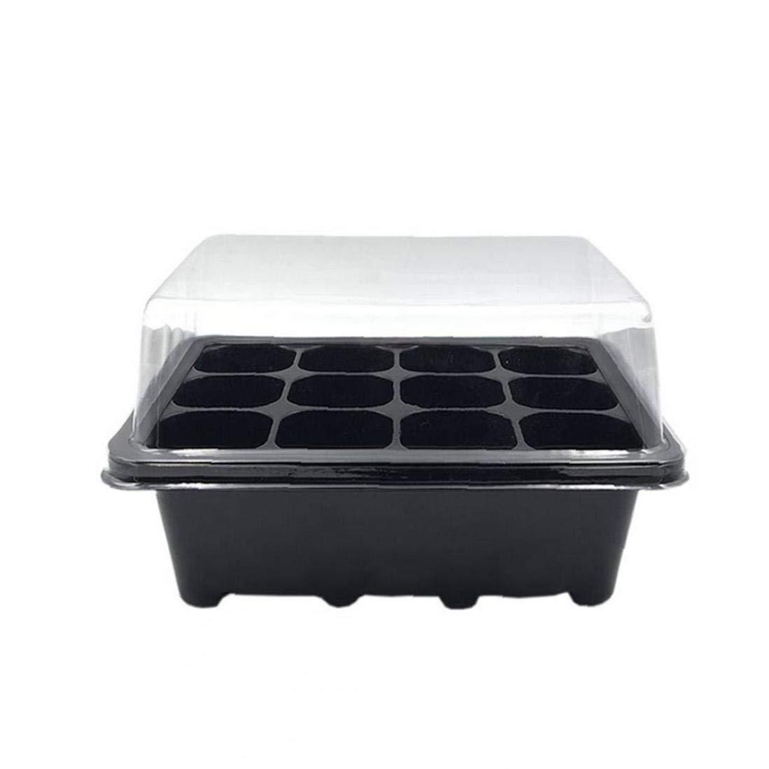 XKJFZ 3pcs Set 12 Wieder verwendbaren Kunststoff-Box L/öcher Samen keimen S/ämlinge Plateau Garten Zubeh/ör L/öffelplatten Baumschulens/ämling T/öpfe S/ämling Starter Schwarz